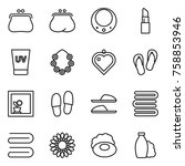 thin line icon set   purse ... | Shutterstock .eps vector #758853946