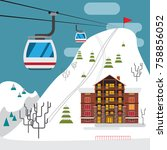 winter landscape with ski... | Shutterstock .eps vector #758856052