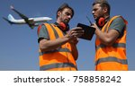 airport team activity  men work ... | Shutterstock . vector #758858242