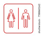 toilet sign. wc  men and women    Shutterstock .eps vector #758860162