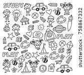 kindergarten nursery preschool... | Shutterstock .eps vector #758867332