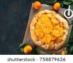 top view of caraway and orange...   Shutterstock . vector #758879626