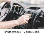 man using gps navigation system ... | Shutterstock . vector #758880556