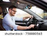 man using navigation system... | Shutterstock . vector #758880565