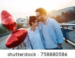smiling couple in love with... | Shutterstock . vector #758880586