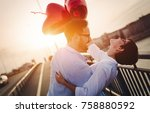beautiful couple in love at... | Shutterstock . vector #758880592