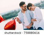 young couple in love dating and ... | Shutterstock . vector #758880616