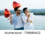 smiling couple in love with... | Shutterstock . vector #758880622