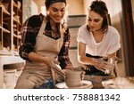 woman potter teaching the art... | Shutterstock . vector #758881342