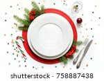 christmas table setting with... | Shutterstock . vector #758887438