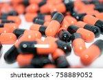 multicolored tablets. medical... | Shutterstock . vector #758889052