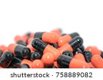 multicolored tablets. medical... | Shutterstock . vector #758889082