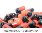 multicolored tablets. medical... | Shutterstock . vector #758889322