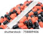 multicolored tablets. medical... | Shutterstock . vector #758889406