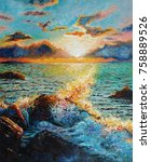 original oil painting on canvas ... | Shutterstock . vector #758889526