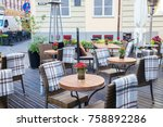 street outdoor cafe with nature ... | Shutterstock . vector #758892286