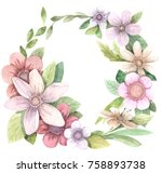 watercolor floral wreath for...   Shutterstock . vector #758893738