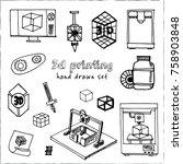 hand drawn doodle video 3d...   Shutterstock .eps vector #758903848