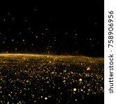 golden sky. abstract stardust... | Shutterstock . vector #758906956