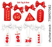 set of white and red sale price ... | Shutterstock .eps vector #758907082