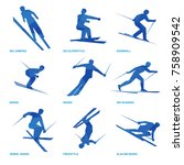 winter sports icon set. nine... | Shutterstock .eps vector #758909542