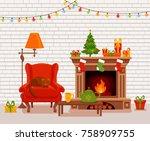 christmas room interior in...   Shutterstock .eps vector #758909755