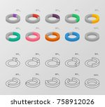 set of outline and flat style... | Shutterstock .eps vector #758912026