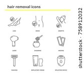 hair removal icons  legs ... | Shutterstock .eps vector #758912032