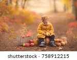 cute little girl sitting on... | Shutterstock . vector #758912215