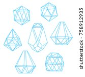 stylized crystals isolated on... | Shutterstock .eps vector #758912935