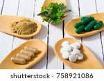 herbal leaves  ground herb... | Shutterstock . vector #758921086
