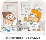 illustration of chemists at work | Shutterstock .eps vector #75892225