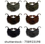 set long  beard and mustache... | Shutterstock .eps vector #758923198