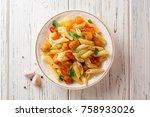 penne pasta with pumpkin ... | Shutterstock . vector #758933026