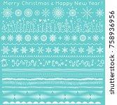 borders  ribbons  brush strokes ... | Shutterstock .eps vector #758936956
