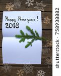 new year concept on wooden... | Shutterstock . vector #758938882