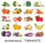 fruit fruits and vegetables... | Shutterstock . vector #758944375