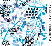 abstract grunge floral seamless ... | Shutterstock .eps vector #758944468