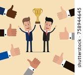 businessmen holding golden cup... | Shutterstock .eps vector #758944645