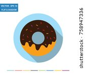 donut flat icon with long... | Shutterstock .eps vector #758947336