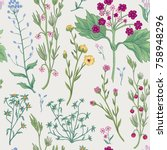 floral seamless pattern. nature ... | Shutterstock .eps vector #758948296