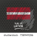 latvia flag  vector sketch hand ... | Shutterstock .eps vector #758949286