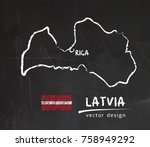 latvia map  vector drawing on... | Shutterstock .eps vector #758949292