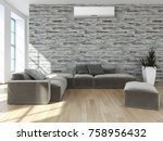 modern bright interior with air ... | Shutterstock . vector #758956432