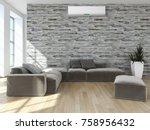 modern bright interior with air ... | Shutterstock . vector #758956432