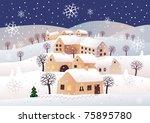 christmas night raster image. | Shutterstock . vector #75895780