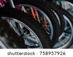 image closeup of bicycle shop... | Shutterstock . vector #758957926