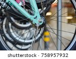 image closeup of bicycle shop... | Shutterstock . vector #758957932