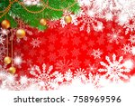 red winter snowy background.... | Shutterstock .eps vector #758969596
