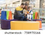happy family with child doing... | Shutterstock . vector #758970166